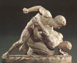 Los luchadores (pankration; copia romana de original griego)