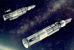 Concepto artístico de naves espaciales propulsadas con energía nuclear