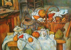 "Paul Cézanne, ""Naturaleza muerta con canasta de frutas"" (1888)"