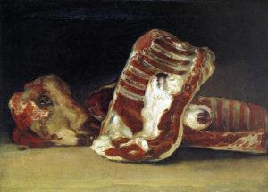"""Francisco de Goya, """"Bodegón con costillas y cabeza de cordero"""" (1808-1812)"""