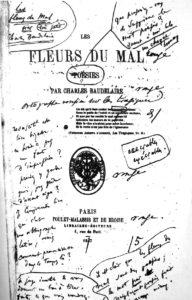 """Frontispicio de la primera edición de """"Las flores del mal"""", con anotaciones del propio Charles Baudelaire"""