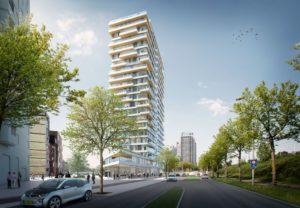 Haut: un edificio residencial de 17 plantas en Ámsterdam (proyectado para 2017)