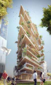Hyperion, edificio de madera CLT y 17 plantas ajardinadas, concebido para Burdeos en 2017-2020 (por Jean Paul Viguier)