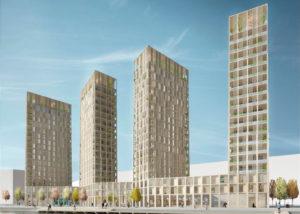 Wooden Highrise Apartments: conjunto de rascacielos residenciales concebido para Estocolmo por los arquitectos Tham & Videgård Arkitekter (proyecto todavía no aprobado)