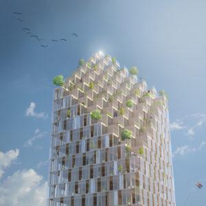 Propuesta de rascacielos de CLT con 34 plantas para Estocolmo (Suecia): concepto de la firma CF Møller