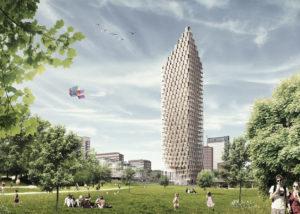 Rascacielos conceptual de CLT de 34 plantas (concepto de la firma CF Møller, diseñado para Estocolmo)