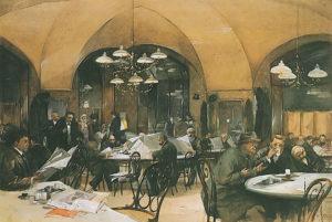 El Café Griensteidl, lugar de encuentro del movimiento modernista Joven Viena (Reinhold Völkel, 1896)