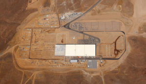 Vista aérea de la Gigafactory 1 de Tesla, en pleno desierto de Nevada