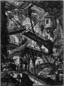 Placa número VII de la colección de grabados Prisiones, del polímata italiano del XVIII Giovanni Battista Piranesi