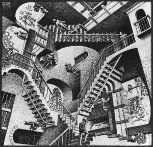 Relatividad (1953), litografía del artista holandés M. C. Escher
