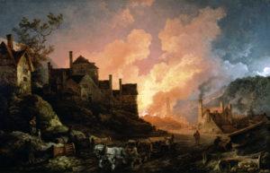 Al pintar la localidad inglesa de Coalbrookdale tal y como aparecía de noche en 1801, Philippe Jacques de Loutherbourg legó un documento sobre la frenética actividad iniciada por los inicios de la Revolución Industrial