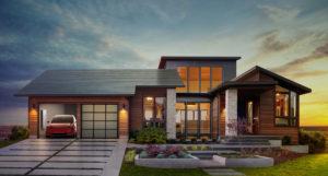Tejado solar con acabado de vidrio liso de Tesla
