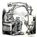 Viñeta del dibujante y precursor de la novela gráfica Robert Crumb (sobre la influencia de los medios, en este caso la televisión), 1977