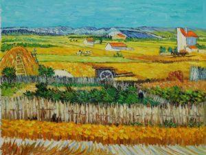 Cosecha en La Clau, con Montmajour de fondo (1888, Vincent van Gogh)