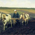 Tolstói arando (1887): retrato del escritor ruso trabajando la tierra en su propiedad. Por el pintor ruso Iliá Yefímovich Repin,  Ilya Repin (1844–1930)