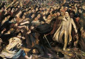 Émile Zola increpado a la salida del juicio sobre el caso Dreyfus (óleo sobre lienzo de Henry de Groux, 1898). Representación pictórica sobre la voluptuosidad de la opinión pública y la dificultad de contrarrestar con la razón un estado de opinión contrario a creencias, minorías, etc.