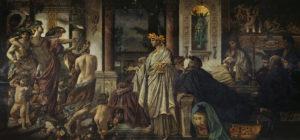 El simposio de Platón: pintura de Anselm Feuerbach con la llegada de Alcibíades (1871–1874)