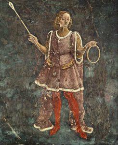 """Alegoría del tiempo (detalle del fresco """"Alegoría de marzo: Triunfo de Minerva"""", de Francesco del Cossa, mediados del siglo XV)"""