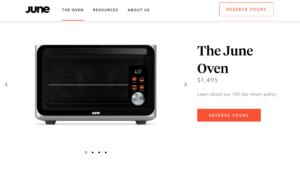 """Captura del sitio del horno tostador """"inteligente"""" diseñado por ingenieros de Silicon Valley: cámara interna, sensores, reconocimiento de objetos, algoritmos que se actualizan automáticamente... Aparentemente, June es capaz de todo facilitar la labor en la cocina, con mensajes continuos y tiempo que se alarga como una descarga"""