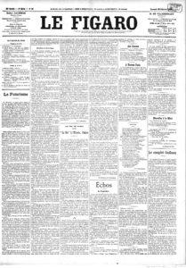 Publicación en Le Figaro del sábado 20 de febrero de 1909: en primera página, aparece el Manifiesto Futurista, obra del poeta italiano Filippo Tommaso Marinetti