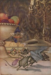 Ilustración del ratón de ciudad, realizada por Milo Winter para una edición de las fábulas de Esopo de 1919