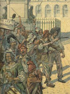 """Sans-culottes (desposeídos) en el París revolucionario; Ilustración de Georges Montorgueil para la novela """"Bonaparte"""" (firmada por Job y el propio Montorgueil, y publicada en 1910)"""