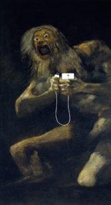 """""""Saturno devorando a su hijo"""", por Francisco de Goya; modificación de la serie """"Art X Smart"""" (Kim Dong-kyu); click en la imagen para más información"""