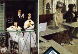 """""""El balcón"""" (Manet; izquierda) y """"El ajenjo"""" (Degas); modificación de la serie """"Art X Smart"""" (Kim Dong-kyu); click en la imagen para más información"""