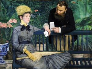 """""""En el conservatorio"""" (Edouard Manet); modificación de la serie """"Art X Smart"""" (Kim Dong-kyu); click en la imagen para más información"""