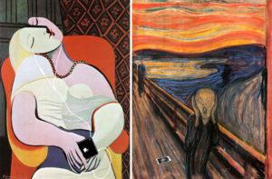 """""""El sueño"""" (Pablo Picasso; izquierda) y """"El grito"""" (Edvard Munch); modificación de la serie """"Art X Smart"""" (Kim Dong-kyu); click en la imagen para más información"""