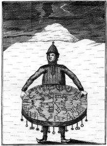 Ilustración de un chamán sami (pueblo nativo de costumbres nómadas que habita todavía el extremo septentrional de la península escandinava (Noruega, Suecia, Finlandia y, en menor medida, la región limítrofe rusa)