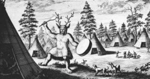 Primera ilustración de las prácticas chamánicas en Siberia, realizada por el explorador holandés Nicolaes Witsen en 1692