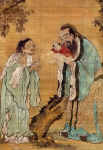 Pintura alegórica china (dinastía Qing): Confucio muestra el recién nacido Buda Gautama a Lao-Tsé