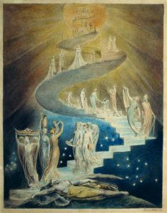 Dibujo del poeta, pintor y grabador inglés William Blake sobre la alegoría bíblica de la Escalera de Jacob, una estructura en espiral a través de la cual los ángeles ascendían y descendían del cielo: en las religiones abrahámicas, el tiempo es lineal, con un principio y un fin (y el objetivo de ascender a un cielo espiritual), a diferencia de la visión cíclica del eterno retorno, evocada en religiones tradicionales y filosofía oriental