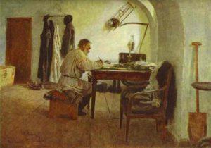 Tolstói en su despacho (Repin, 1891)