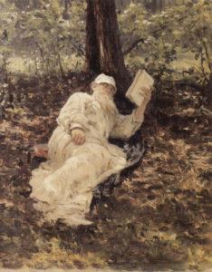 Tolstói descansando en el bosque (Repin, 1891)