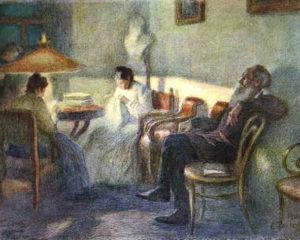"""""""Bajo una lámpara""""; Tolstói y su círculo familiar (Leonid Pasternak, 1902)"""
