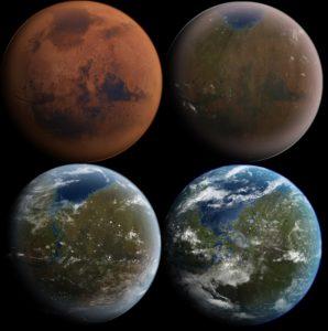 """Secuencia de una hipotética """"terraformación"""" de Marte, o adecuación del Planeta Rojo a las condiciones que permitirían la vida tal y como la conocemos en la Tierra, a través de una intervención humana previa a la colonización"""