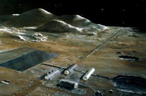 Representación conceptual de una colonia en la superficie lunar con alojamiento, sistema de transporte, pistas para la conducción con vehículo lunar, y zonas de producción energética y transformación de materias primas (crédito: NASA)