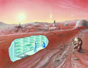 Representación conceptual de una colonia en Marte, donde se observan estructuras semisepultadas y subterráneas para mantener una temperatura estable y evitar la radiación solar (crédito: Centro de Investigación Espacial Ames, NASA)