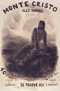 """Cartel de la novela de aventuras """"El conde de Montecristo"""" (Alejandro Dumas), editada originalmente por entregas (ilustración de Paul Gavarni, 1846)"""
