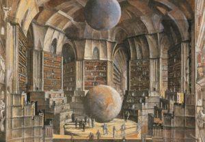 """Estampa de Érik Desmazières inspirada en """"La biblioteca de Babel"""" de Borges, sobre la que realizó 11 grabados en aguafuerte"""